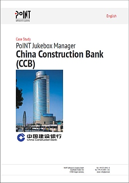 The case study by China Construction Bank shows the big bank building under a blue sky.