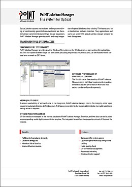 "The datasheet is called ""PoINT Jukebox Manager Dateisystem für Optical"" and is lossenend with a picture from the software."