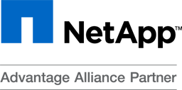 The NetApp logo is on a white background contains a square that is mostly blue, and the black lettering NetApp TM Advantage Alliance Partner.