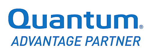 The Quantum logo consists of the blue lettering Quantum Advanatge Partner.