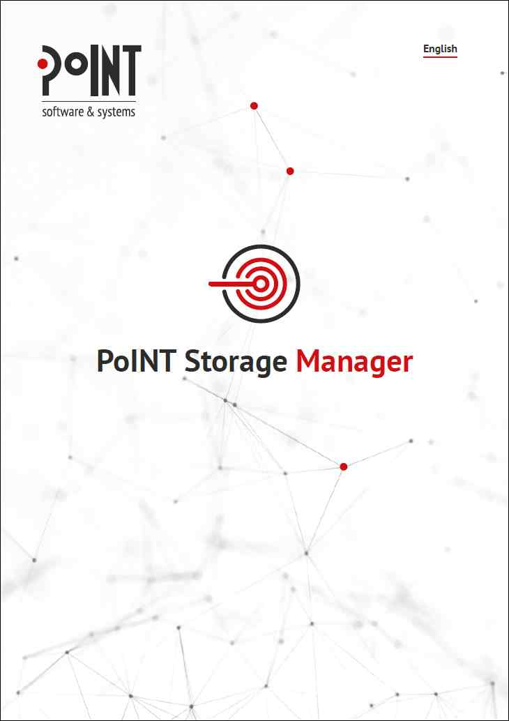 The whitepaper of the PoINT Storage Manager is gray, shows the white logo and links to the document which is about data archiving.