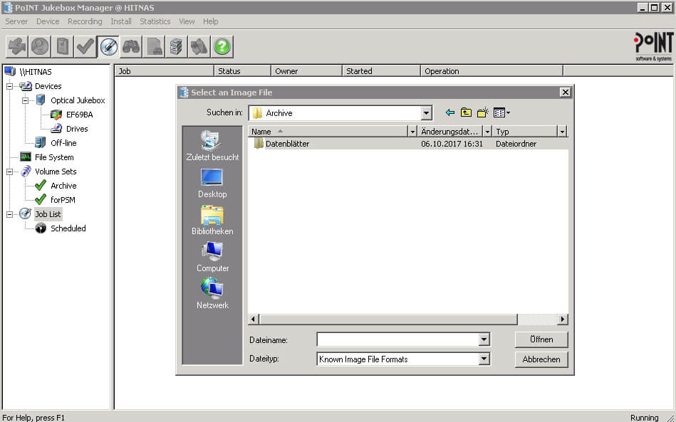 This windows-like window shows the file archive inside the PoINT Jukebox Manager.