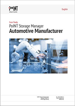 The cover picture of the Case Study with Daimler AG shows a robot arm and a hand which can be seen symbolically for an efficient storage optimization