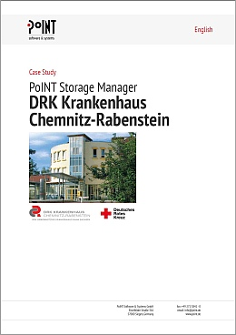 This first page of the Case Study shows the entrance of DRK Krankenhaus Chemnitz Rabenstein. This hospital has to archive patient data.