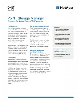 The white data sheet with a black PoINT logo and a blue NetApp logo mainly deals with the PSM and StorageGRID Webscale and in generally from Information Lifecycle Management.