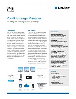 The white datasheet is about File Tiering and File Archiving of PoINT Storage Manager and NetApp including information lifecycle management.