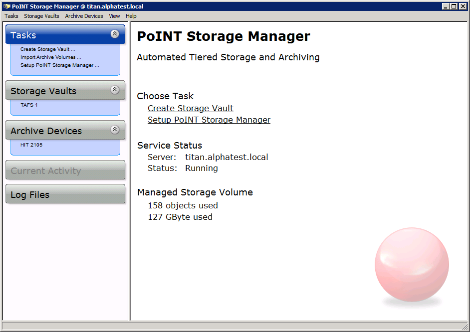 The picture shows the GUI of our data archiving software, which contains the red PoINT ball at the bottom right and is kept in white, black and blue.